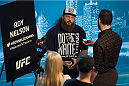 DALLAS, TX - MARCH 12:  Roy Nelson speaks with the media during the UFC 185 Ultimate Media Day at the American Airlines Center on March 12, 2015 in Dallas, Texas. (Photo by Cooper Neill/Zuffa LLC/Zuffa LLC via Getty Images)