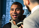 DALLAS, TX - MARCH 12:  Alistair Overeem of the Netherlands interacts with media during the UFC 185 Ultimate Media Day at the American Airlines Center on March 12, 2015 in Dallas, Texas. (Photo by Josh Hedges/Zuffa LLC/Zuffa LLC via Getty Images)