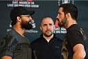DALLAS, TX - MARCH 12:  (L-R) Opponents Johny Hendricks and Matt Brown face off during the UFC 185 Ultimate Media Day at the American Airlines Center on March 12, 2015 in Dallas, Texas. (Photo by Josh Hedges/Zuffa LLC/Zuffa LLC via Getty Images)