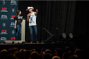 "DALLAS, TX - MARCH 13: Megan Olivi and Donald ""Cowboy"" Cerrone answer fan questions before the UFC 185 weigh-ins at the Kay Bailey Hutchison Convention Center on March 13, 2015 in Dallas, Texas. (Photo by Cooper Neill/Zuffa LLC/Zuffa LLC via Getty Images)"
