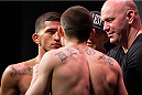 DALLAS, TX - MARCH 13: Sergio Pettis faces off with Ryan Benoit during the UFC 185 weigh-ins at the Kay Bailey Hutchison Convention Center on March 13, 2015 in Dallas, Texas. (Photo by Cooper Neill/Zuffa LLC/Zuffa LLC via Getty Images)
