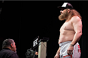 DALLAS, TX - MARCH 13: Roy Nelson stands on the scale during the UFC 185 weigh-ins at the Kay Bailey Hutchison Convention Center on March 13, 2015 in Dallas, Texas. (Photo by Cooper Neill/Zuffa LLC/Zuffa LLC via Getty Images)