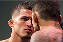 DALLAS, TX - MARCH 13: Anthony Pettis faces off with Rafael Dos Anjos during the UFC 185 weigh-ins at the Kay Bailey Hutchison Convention Center on March 13, 2015 in Dallas, Texas. (Photo by Cooper Neill/Zuffa LLC/Zuffa LLC via Getty Images)