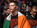 DALLAS, TX - MARCH 14:  Joseph Duffy of Ireland enters the arena before facing Jake Lindsey in their lightweight bout during the UFC 185 event at the American Airlines Center on March 14, 2015 in Dallas, Texas. (Photo by Josh Hedges/Zuffa LLC/Zuffa LLC via Getty Images)