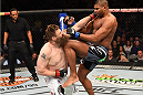 DALLAS, TX - MARCH 14:  (R-L) Alistair Overeem lands a knee to the chin of Roy Nelson in their heavyweight bout during the UFC 185 event at the American Airlines Center on March 14, 2015 in Dallas, Texas. (Photo by Josh Hedges/Zuffa LLC/Zuffa LLC via Getty Images)