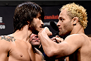 RIO DE JANEIRO, BRAZIL - MARCH 20:  Erick Silva (L) of Brazil and Josh Koscheck of the USA face off during the UFC Fight Night Weigh-ins at Maracanazinho  on March 20, 2015 in Rio de Janeiro, Brazil.  (Photo by Buda Mendes/Zuffa LLC/Zuffa LLC via Getty Images)