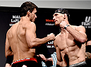 RIO DE JANEIRO, BRAZIL - MARCH 20: Demian Maia (L) of Brazil and Ryan LaFlare of the USA face off during the UFC Fight Night Weigh-ins at Maracanazinho  on March 20, 2015 in Rio de Janeiro, Brazil. (Photo by Buda Mendes/Zuffa LLC/Zuffa LLC via Getty Images)