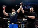 RIO DE JANEIRO, BRAZIL - MARCH 21: Demian Maia of Brazil celebrates after defeating Ryan LaFlare of the United States in their welterweight bout during the UFC Fight Night at Maracanazinho Gymnasium on March 21, 2015 in Rio de Janeiro, Brazil. (Photo by Buda Mendes/Zuffa LLC/Zuffa LLC via Getty Images)