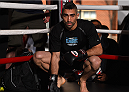 FAIRFAX, VA - APRIL 02:   Ricardo Lamas holds an open training session for fans and media at the UFC Gym on April 2, 2015 in Fairfax, Virginia. (Photo by Josh Hedges/Zuffa LLC/Zuffa LLC via Getty Images)