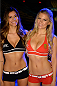 FAIRFAX, VA - APRIL 03:   (L-R) UFC Octagon Girls Vanessa Hanson and Chrissy Blair pose for a photo backstage during the UFC weigh-in at the Patriot Center on April 3, 2015 in Fairfax, Virginia. (Photo by Mike Roach/Zuffa LLC/Zuffa LLC via Getty Images)