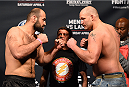 FAIRFAX, VA - APRIL 03:   (L-R) Opponents Shamil Abdurakhimov of Russia and Timothy Johnson face off during the UFC weigh-in at the Patriot Center on April 3, 2015 in Fairfax, Virginia. (Photo by Josh Hedges/Zuffa LLC/Zuffa LLC via Getty Images)
