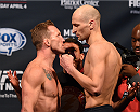 FAIRFAX, VA - APRIL 03:   (L-R) Opponents Gray Maynard and Alexander Yakovlev of Russia face off during the UFC weigh-in at the Patriot Center on April 3, 2015 in Fairfax, Virginia. (Photo by Josh Hedges/Zuffa LLC/Zuffa LLC via Getty Images)