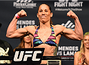 FAIRFAX, VA - APRIL 03:   Liz Carmouche weighs in during the UFC weigh-in at the Patriot Center on April 3, 2015 in Fairfax, Virginia. (Photo by Josh Hedges/Zuffa LLC/Zuffa LLC via Getty Images)