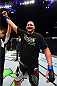FAIRFAX, VA - APRIL 04:  Timothy Johnson celebrates after defeating Shamil Abdurakhimov of Russia in their heavyweight fight during the UFC Fight Night event at the Patriot Center on April 4, 2015 in Fairfax, Virginia. (Photo by Josh Hedges/Zuffa LLC/Zuffa LLC via Getty Images)