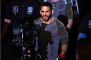 FAIRFAX, VA - APRIL 04:  Chad Mendes enters the arena before facing Ricardo Lamas in their featherweight fight during the UFC Fight Night event at the Patriot Center on April 4, 2015 in Fairfax, Virginia. (Photo by Josh Hedges/Zuffa LLC/Zuffa LLC via Getty Images)
