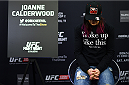 KRAKOW, POLAND - APRIL 08:  Joanne Calderwood of Scotland takes a break between interviews during the UFC Fight Night Ultimate Media Day inside the TAURON Arena on April 8, 2015 in Krakow, Poland. (Photo by Jeff Bottari/Zuffa LLC/Zuffa LLC via Getty Images)
