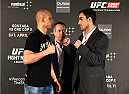 KRAKOW, POLAND - APRIL 08:  Pawal Pawlak (L) and Sheldon Westcott of Canada face off for the media during the UFC Fight Night Ultimate Media Day inside the TAURON Arena on April 8, 2015 in Krakow, Poland. (Photo by Jeff Bottari/Zuffa LLC/Zuffa LLC via Getty Images)