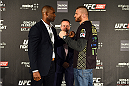 KRAKOW, POLAND - APRIL 08:  Jimi Manuwa of England (L) and Jan Blachowicz face off for the media during the UFC Fight Night Ultimate Media Day inside the TAURON Arena on April 8, 2015 in Krakow, Poland. (Photo by Jeff Bottari/Zuffa LLC/Zuffa LLC via Getty Images)