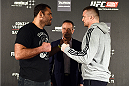 KRAKOW, POLAND - APRIL 08:  Gabriel Gonzaga of Brazil (L) and Mirko Cro Cop of Croatia face off for the media during the UFC Fight Night Ultimate Media Day inside the TAURON Arena on April 8, 2015 in Krakow, Poland. (Photo by Jeff Bottari/Zuffa LLC/Zuffa LLC via Getty Images)