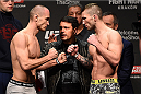 KRAKOW, POLAND - APRIL 10:  (L-R) Marcin Bandel and Stevie Ray of Scotland face off after weighing in during the UFC Fight Night weigh-in at the Tauron Arena on April 10, 2015 in Krakow, Poland. (Photo by Jeff Bottari/Zuffa LLC/Zuffa LLC via Getty Images)