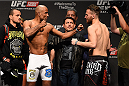 KRAKOW, POLAND - APRIL 10:  (L-R) Sergio Moraes of Brazil and Mickael Lebout of France face off after weighing in during the UFC Fight Night weigh-in at the Tauron Arena on April 10, 2015 in Krakow, Poland. (Photo by Jeff Bottari/Zuffa LLC/Zuffa LLC via Getty Images)