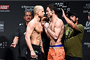 KRAKOW, POLAND - APRIL 10:  (L-R) Pawal Pawlak and Sheldon Westcott of Canada face off after weighing in during the UFC Fight Night weigh-in at the Tauron Arena on April 10, 2015 in Krakow, Poland. (Photo by Jeff Bottari/Zuffa LLC/Zuffa LLC via Getty Images)