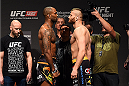 KRAKOW, POLAND - APRIL 10:  (L-R) Jimi Manuwa of England and Jan Blachowicz face off after weighing in during the UFC Fight Night weigh-in at the Tauron Arena on April 10, 2015 in Krakow, Poland. (Photo by Jeff Bottari/Zuffa LLC/Zuffa LLC via Getty Images)