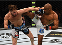 KRAKOW, POLAND - APRIL 11:  (L-R) Mickael Lebout of France and Sergio Moraes of Brazil trade strikes in their welterweight fight during the UFC Fight Night event at the Tauron Arena on April 11, 2015 in Krakow, Poland. (Photo by Jeff Bottari/Zuffa LLC/Zuffa LLC via Getty Images)