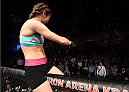 KRAKOW, POLAND - APRIL 11:  (L-R) Maryna Moroz of Croatia has words for UFC Women's Strawweight Champion Joanna Jedrzejczyk in the crowd after her victory over Joanne Calderwood of Scotland in their women's strawweight fight during the UFC Fight Night event at the Tauron Arena on April 11, 2015 in Krakow, Poland. (Photo by Jeff Bottari/Zuffa LLC/Zuffa LLC via Getty Images)