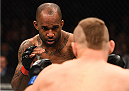 KRAKOW, POLAND - APRIL 11:  (L-R) Jimi Manuwa of England battles Jan Blachowicz of Poland in their light heavyweight fight during the UFC Fight Night event at the Tauron Arena on April 11, 2015 in Krakow, Poland. (Photo by Jeff Bottari/Zuffa LLC/Zuffa LLC via Getty Images)