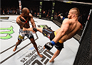 KRAKOW, POLAND - APRIL 11:  (R-L) Jan Blachowicz of Poland kicks Jimi Manuwa of England in their light heavyweight fight during the UFC Fight Night event at the Tauron Arena on April 11, 2015 in Krakow, Poland. (Photo by Jeff Bottari/Zuffa LLC/Zuffa LLC via Getty Images)