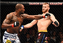 KRAKOW, POLAND - APRIL 11:  (L-R) Jimi Manuwa of England punches Jan Blachowicz of Poland in their light heavyweight fight during the UFC Fight Night event at the Tauron Arena on April 11, 2015 in Krakow, Poland. (Photo by Jeff Bottari/Zuffa LLC/Zuffa LLC via Getty Images)