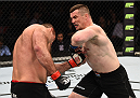 KRAKOW, POLAND - APRIL 11:  (R-L) Mirko Cro Cop of Croatia elbows Gabriel Gonzaga of Brazil in their heavyweight fight during the UFC Fight Night event at the Tauron Arena on April 11, 2015 in Krakow, Poland. (Photo by Jeff Bottari/Zuffa LLC/Zuffa LLC via Getty Images)
