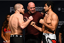 NEWARK, NJ - APRIL 17:  (L-R) Jim Miller and Beneil Dariush face off during the UFC Fight Night weigh-in event at the Prudential Center on April 17, 2015 in Newark, New Jersey. (Photo by Jeff Bottari/Zuffa LLC/Zuffa LLC via Getty Images)