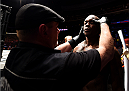 NEWARK, NJ - APRIL 18:  Ovince Saint Preux prepares for his light heavyweight bout against Patrick Cummins during the UFC Fight Night event at Prudential Center on April 18, 2015 in Newark, New Jersey.  (Photo by Josh Hedges/Zuffa LLC/Zuffa LLC via Getty Images)