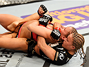 NEWARK, NJ - APRIL 18:  Felice Herrig and Paige VanZant grapple in their women's strawweight bout during the UFC Fight Night event at Prudential Center on April 18, 2015 in Newark, New Jersey.  (Photo by Josh Hedges/Zuffa LLC/Zuffa LLC via Getty Images)