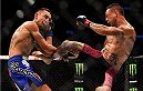 NEWARK, NJ - APRIL 18:  Cub Swanson kicks Max Holloway in their featherweight bout during the UFC Fight Night event at Prudential Center on April 18, 2015 in Newark, New Jersey.  (Photo by Jeff Bottari/Zuffa LLC/Zuffa LLC via Getty Images)
