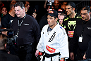NEWARK, NJ - APRIL 18:  Lyoto Machida of Brazil arrives for his middleweight bout against Luke Rockhold during the UFC Fight Night event at Prudential Center on April 18, 2015 in Newark, New Jersey.  (Photo by Josh Hedges/Zuffa LLC/Zuffa LLC via Getty Images)