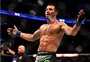 NEWARK, NJ - APRIL 18:  Luke Rockhold celebrates defeating Lyoto Machida of Brazil by tap out in their middleweight bout during the UFC Fight Night event at Prudential Center on April 18, 2015 in Newark, New Jersey.  (Photo by Jeff Bottari/Zuffa LLC/Zuffa LLC via Getty Images)