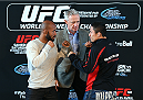 MONTREAL, QC - APRIL 23:  (L-R) UFC Flyweight Champion Demetrious 'Mighty Mouse' Johnson and Kyoji Horiguchi face off for the media during the UFC 186 Ultimate Media Day at Scena on April 23, 2015 in Montreal, Quebec, Canada. (Photo by Jeff Bottari/Zuffa LLC/Zuffa LLC via Getty Images)
