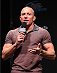 MONTREAL, QC - APRIL 24:   Former UFC welterweight champion Georges St-Pierre interacts with fans during a Q&A session before the UFC 186 weigh-in at Metropolis on April 24, 2015 in Montreal, Quebec, Canada. (Photo by Josh Hedges/Zuffa LLC/Zuffa LLC via Getty Images)