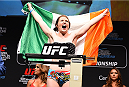 MONTREAL, QC - APRIL 24:   Aisling Daly of Ireland weighs in during the UFC 186 weigh-in at Metropolis on April 24, 2015 in Montreal, Quebec, Canada. (Photo by Josh Hedges/Zuffa LLC/Zuffa LLC via Getty Images)