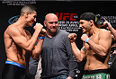MONTREAL, QC - APRIL 24:   (L-R) Opponents Nordine Taleb of Canada and Chris Clements of Canada face off during the UFC 186 weigh-in at Metropolis on April 24, 2015 in Montreal, Quebec, Canada. (Photo by Josh Hedges/Zuffa LLC/Zuffa LLC via Getty Images)