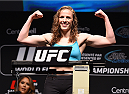 MONTREAL, QC - APRIL 24:   Sarah Kaufman of Canada weighs in during the UFC 186 weigh-in at Metropolis on April 24, 2015 in Montreal, Quebec, Canada. (Photo by Josh Hedges/Zuffa LLC/Zuffa LLC via Getty Images)