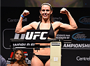 MONTREAL, QC - APRIL 24:   Alexis Davis of Canada weighs in  during the UFC 186 weigh-in at Metropolis on April 24, 2015 in Montreal, Quebec, Canada. (Photo by Josh Hedges/Zuffa LLC/Zuffa LLC via Getty Images)