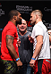 MONTREAL, QC - APRIL 24:   (L-R) Opponents Quinton 'Rampage' Jackson of the United States and Fabio Maldonado of Brazil face off during the UFC 186 weigh-in at Metropolis on April 24, 2015 in Montreal, Quebec, Canada. (Photo by Josh Hedges/Zuffa LLC/Zuffa LLC via Getty Images)
