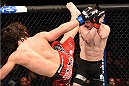 MONTREAL, QC - APRIL 25:   (L-R) David Michaud of the United States kicks Olivier Aubin-Mercier of Canada in their lightweight bout during the UFC 186 event at the Bell Centre on April 25, 2015 in Montreal, Quebec, Canada. (Photo by Josh Hedges/Zuffa LLC/Zuffa LLC via Getty Images)