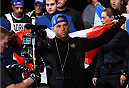 MONTREAL, QC - APRIL 25:   Chad Laprise of Canada prepares to enter the Octagon before his lightweight bout against Bryan Barberena of the United States during the UFC 186 event at the Bell Centre on April 25, 2015 in Montreal, Quebec, Canada. (Photo by Josh Hedges/Zuffa LLC/Zuffa LLC via Getty Images)