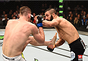 MONTREAL, QC - APRIL 25:   (R-L) John Makdessi of Canada punches Shane Campbell of the United States in their catchweight bout during the UFC 186 event at the Bell Centre on April 25, 2015 in Montreal, Quebec, Canada. (Photo by Josh Hedges/Zuffa LLC/Zuffa LLC via Getty Images)