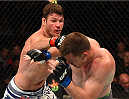 MONTREAL, QC - APRIL 25:   (L-R) Michael Bisping of England punches CB Dollaway of the United States in their middleweight bout during the UFC 186 event at the Bell Centre on April 25, 2015 in Montreal, Quebec, Canada. (Photo by Josh Hedges/Zuffa LLC/Zuffa LLC via Getty Images)